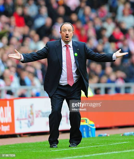 Liverpool manager Rafael Benitez reacts after a goal that deflected off a beachball went against them during the Barclays Premier League match...