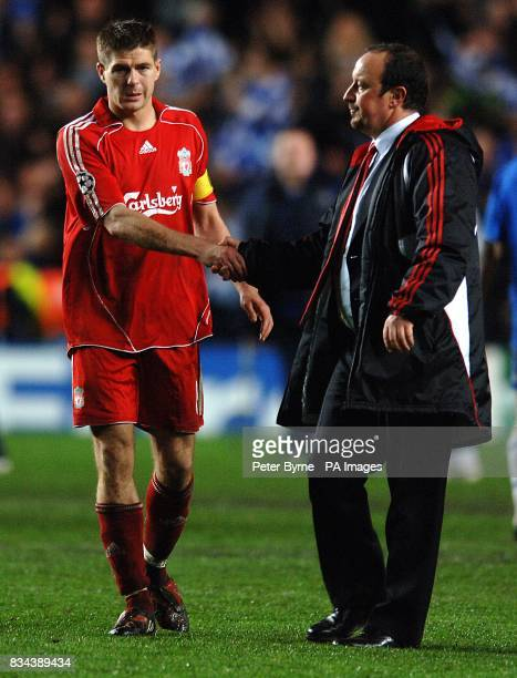 Liverpool manager Rafael Benitez shakes hands with his captain Steven Gerrard after the final whistle