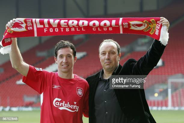 Liverpool manager Rafael Benitez welcomes Robbie Fowler back as he meets the press after rejoining the club from Manchester City at Anfield on...