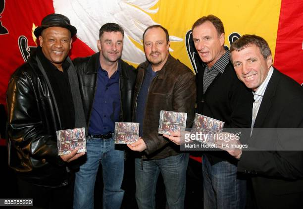 Liverpool manager Rafael Benitez with former players Howard Gayle John Aldridge Phil Thompson and Alan Kennedy at the launch of the Fields of Anfield...