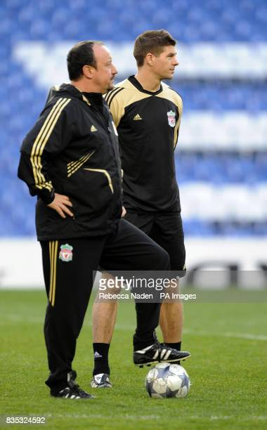 Liverpool manager Rafael Benitez with Steven Gerrard during a Training Session at Stamford Bridge London
