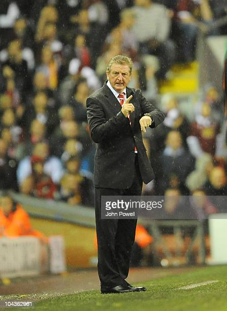 Liverpool manager Roy Hodgson during the Carling Cup 3rd round game between Liverpool and Northampton Town at Anfield on September 22 2010 in...