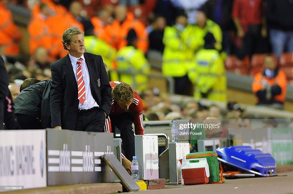 Liverpool manager Roy Hodgson during the first leg UEFA Europa League match between Liverpool and Steau Bucharest on September 16, 2010 in Liverpool, England.