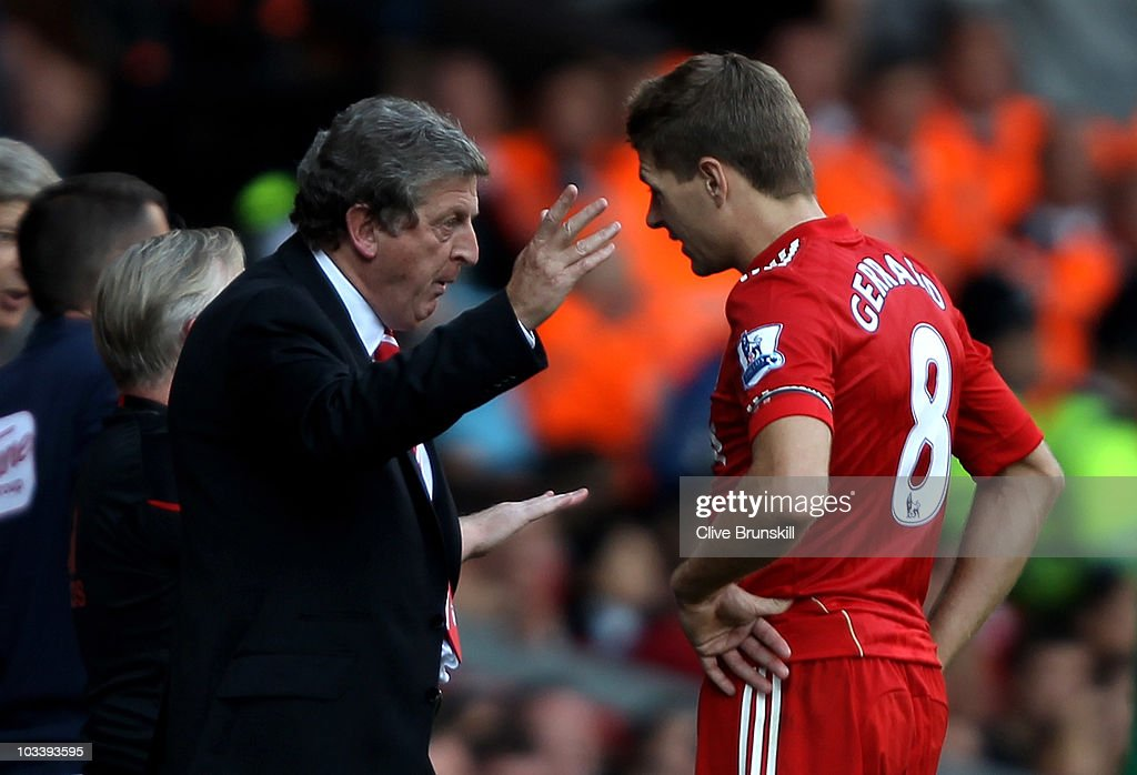 Liverpool Manager Roy Hodgson issues instructions to Steven Gerrard during the Barclays Premier League match between Liverpool and Arsenal at Anfield on August 15, 2010 in Liverpool, England.