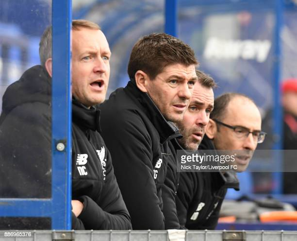 Liverpool manager Steven Gerrard watches the action during the UEFA Youth League group E match between Liverpool FC and Spartak Moskva at Prenton...