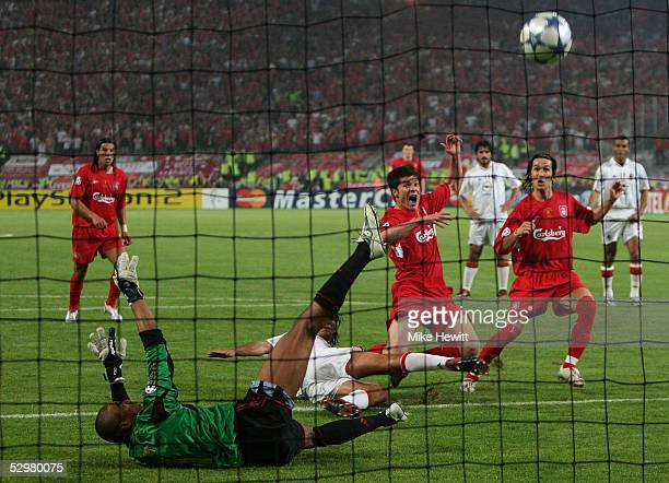 Liverpool midfielder Xabi Alonso of Spain scores the third goal during the European Champions League final between Liverpool and AC Milan on May 25...