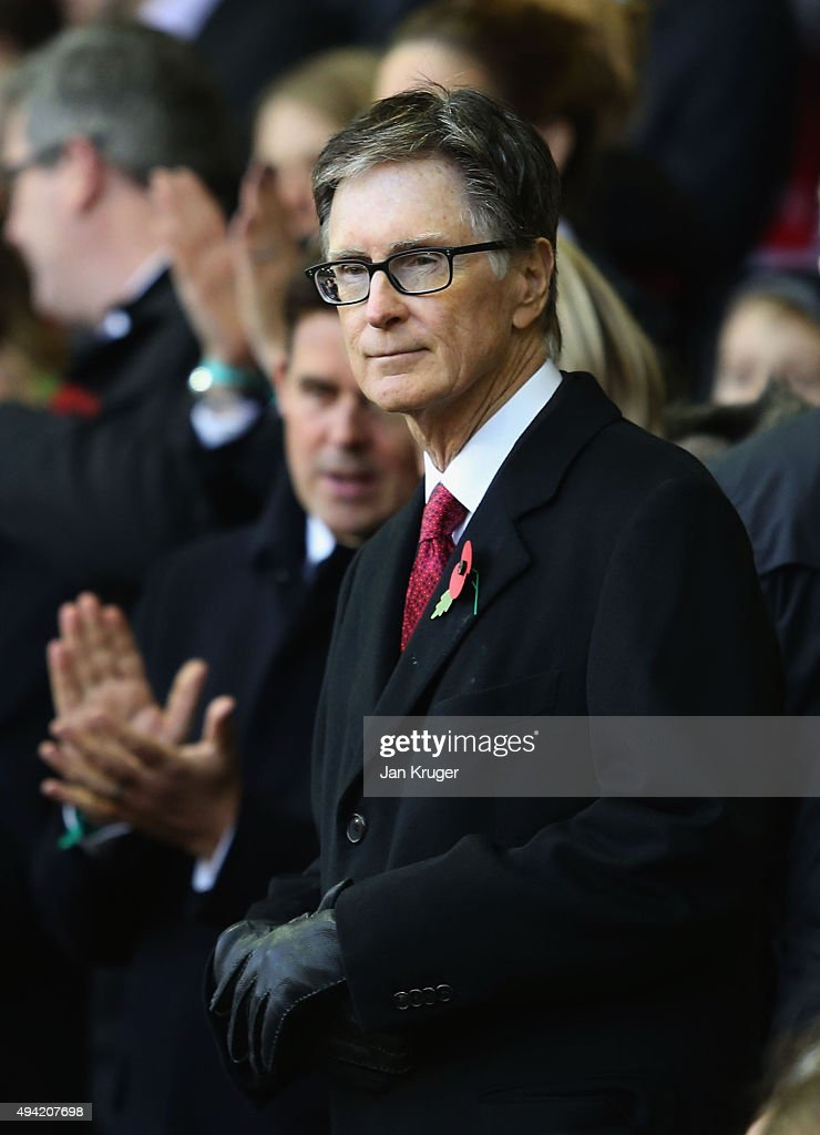 Liverpool owner <a gi-track='captionPersonalityLinkClicked' href=/galleries/search?phrase=John+W.+Henry&family=editorial&specificpeople=2748752 ng-click='$event.stopPropagation()'>John W. Henry</a> is seen during the Barclays Premier League match between Liverpool and Southampton at Anfield on October 25, 2015 in Liverpool, England.