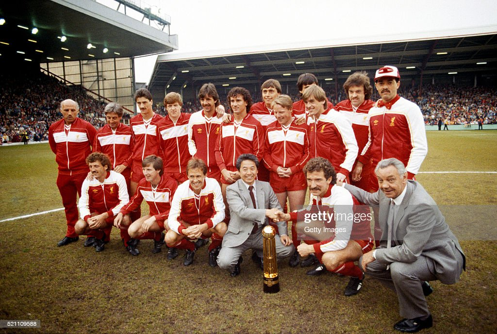 Liverpool pictured with the Canon League Division One trophy for the 1983/84 season before their match against Norwich City at Anfield on May 15th...