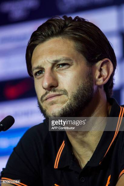 Liverpool player Adam Lallana attends a press conference of the Premier League Asia Trophy football tournament in Hong Kong on July 21 2017 Liverpool...