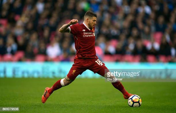 Liverpool player Alberto Moreno in action during the Premier League match between Tottenham Hotspur and Liverpool at Wembley Stadium on October 22...