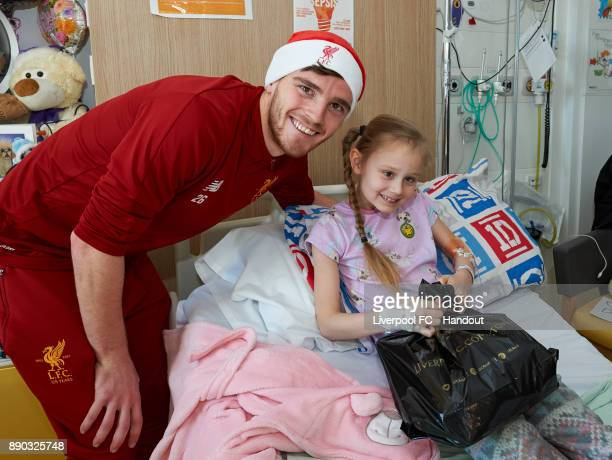 Liverpool player Andrew Robertson making the annual visit to Alder Hey Children's Hospital on December 11 2017 in Liverpool England