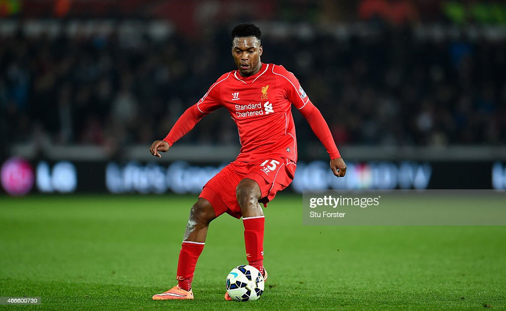 Liverpool player <a gi-track='captionPersonalityLinkClicked' href=/galleries/search?phrase=Daniel+Sturridge&family=editorial&specificpeople=677270 ng-click='$event.stopPropagation()'>Daniel Sturridge</a> in action during the Barclays Premiership match between Swansea City and Liverpool at Liberty Stadium on March 16, 2015 in Swansea, Wales.
