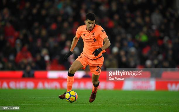 Liverpool player Dominic Solanke in action during the Premier League match between Stoke City and Liverpool at Bet365 Stadium on November 29 2017 in...