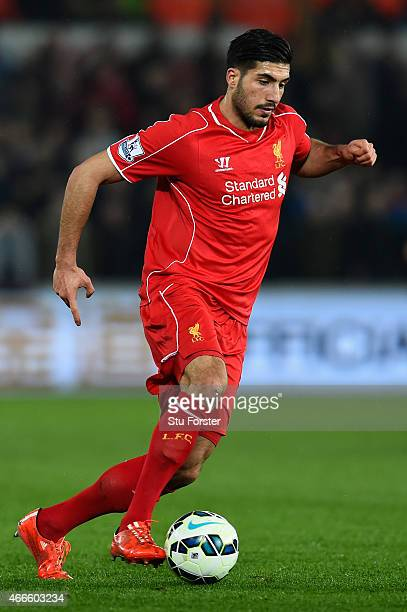 Liverpool player Emre Can in action during the Barclays Premiership match between Swansea City and Liverpool at Liberty Stadium on March 16 2015 in...