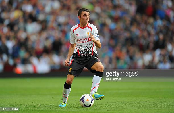 Liverpool player Iago Aspas in action during the Barclays Premier League match between Aston Villa and Liverpool at Villa Park on August 24 2013 in...