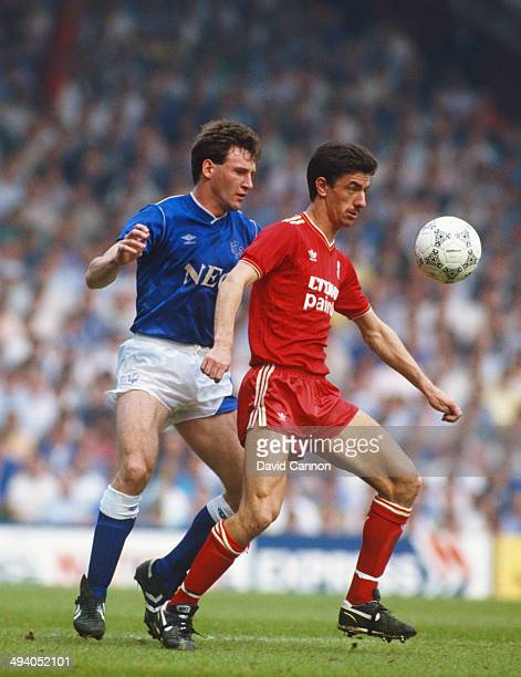 Liverpool player Ian Rush holds off Everton player Dave Watson during the FA Charity Shield match between Everton and Liverpool at Wembley Stadium on...