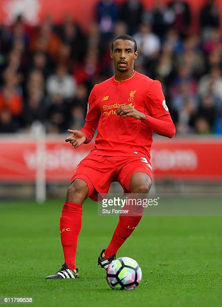 Liverpool player Joel Matip in action during the Premier League match between Swansea City and Liverpool at Liberty Stadium on October 1 2016 in...