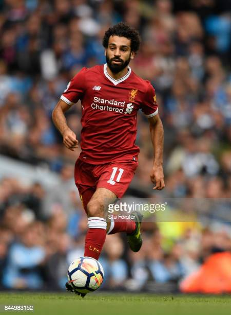Liverpool player Mohamed Salah in action during the Premier League match between Manchester City and Liverpool at Etihad Stadium on September 9 2017...