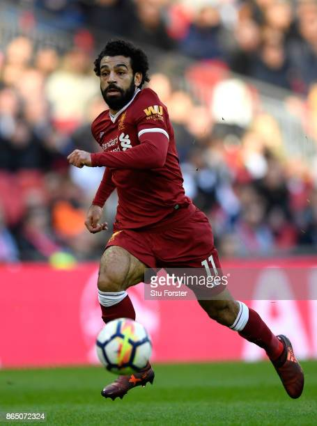 Liverpool player Mohamed Salah in action during the Premier League match between Tottenham Hotspur and Liverpool at Wembley Stadium on October 22...