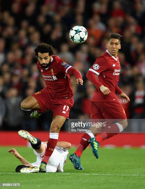 Liverpool player Mohamed Salah in action during the UEFA Champions League group E match between Liverpool FC and Sevilla FC at Anfield on September...