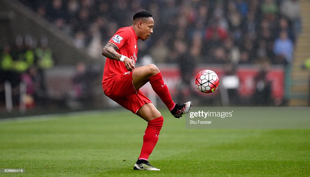 Liverpool player Nathaniel Clyne in action during the Barclays Premier League match between Swansea City and Liverpool at The Liberty Stadium on May 1, 2016 in Swansea, Wales.