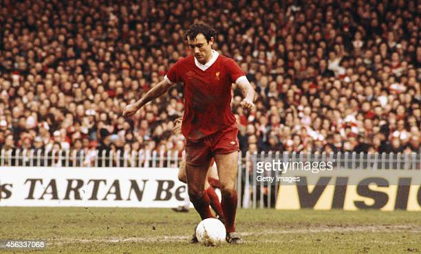 Liverpool player Ray Kennedy in action during an FA Cup Semi Final match between Liverpool and Everton at Maine Road on April 27 1977 in Manchester...