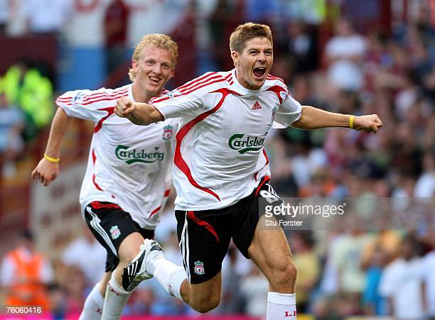 Liverpool player Steven Gerrard celebrates his late winner with Dirk Kuyt during the Barclays Premier League Match between Aston Villa and Liverpool...