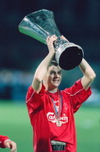 Liverpool player Steven Gerrard lifts the UEFA Cup after the Uefa Cup final between Liverpool and Alaves at the Westfallensatdion on the 16th May...