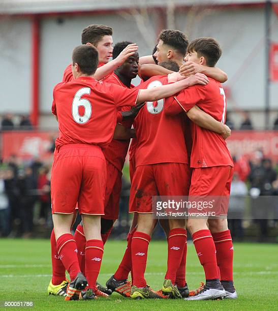 Liverpool players celebrate Adam Phillips' goal during the Liverpool v Everton U18 Premier League game at the Liverpool FC Academy on December 5 2015...