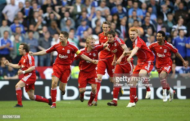 Liverpool players celebrate after Daniel Agger scores the first goal of the game LR Boudewijn Zenden Steven Gerrard Dirk Kuyt Peter Crouch Daniel...