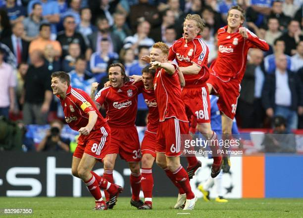 Liverpool players celebrate after Daniel Agger scores the first goal of the game LR Steven Gerrard Boudewijn Zenden Daniel Agger John Arne Riise Dirk...