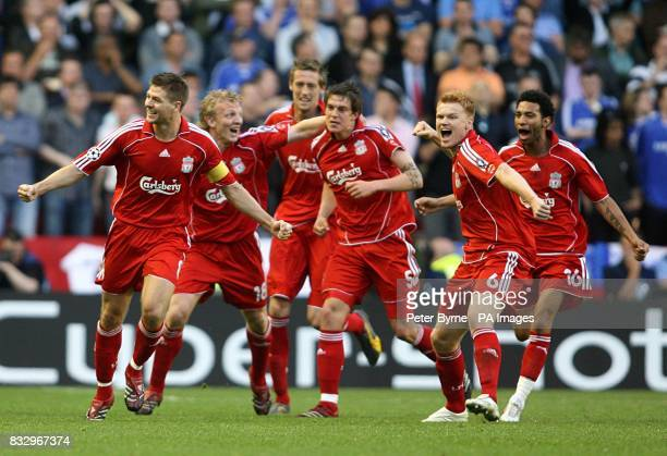 Liverpool players celebrate after Daniel Agger scores the first goal of the game LR Steven Gerrard Dirk Kuyt Peter Crouch Daniel Agger John Arne...