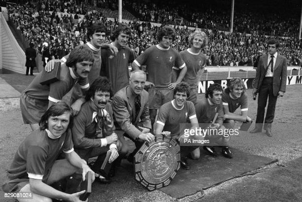 Liverpool players celebrate after winning the FA Charity Shield in the match against Leeds United Back row left to right Steve Heighway Peter Cormack...