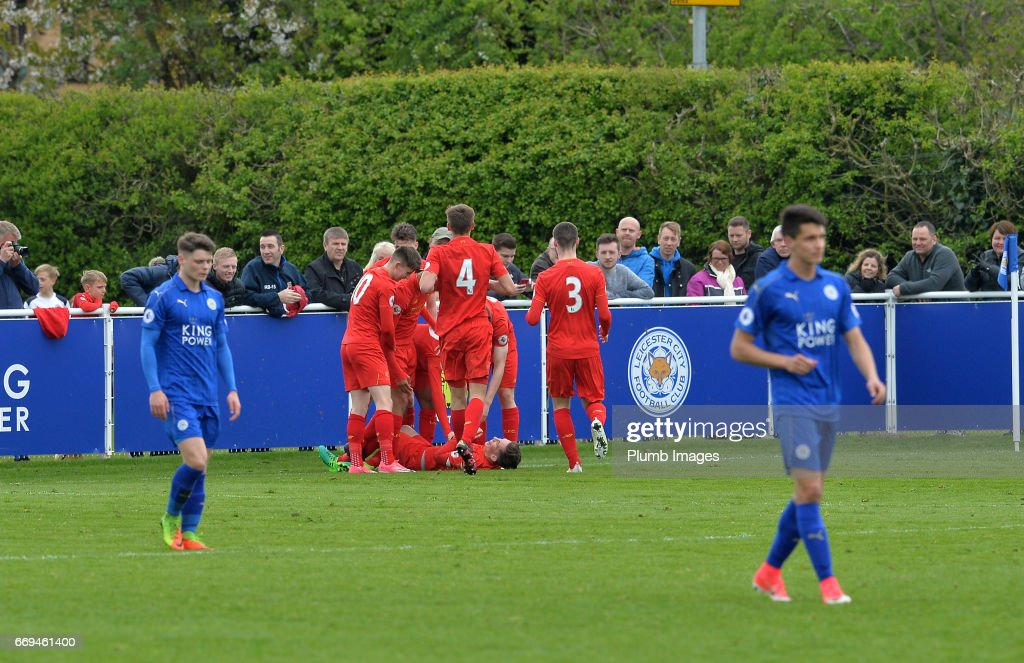 Liverpool players celebrate the third goal during the game between Leicester City and Liverpool: Premier League 2 match at Holmes Park on April 17 2017 in Leicester, United Kingdom