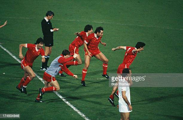 Liverpool players celebrate their 42 victory in the penalty shootout to win the European Cup Final at the Stadio Olimpico Rome 30th May 1984 The...
