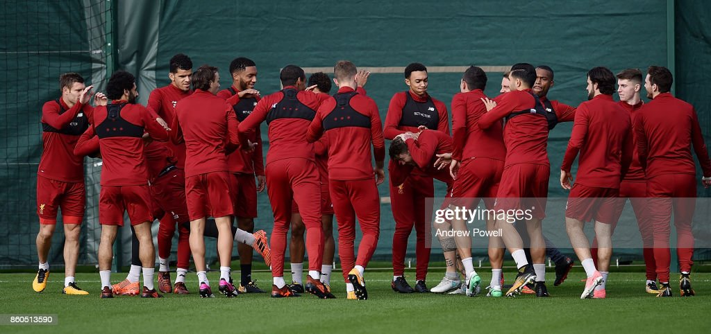 Liverpool players during a training session at Melwood Training Ground on October 12, 2017 in Liverpool, England.