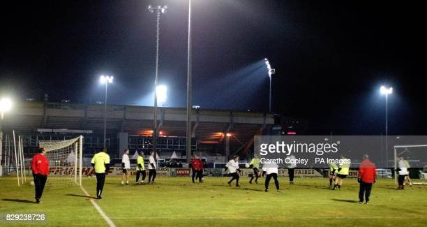 Liverpool players during a training session on the training pitch behind Stade Abbe Deschamps Auxerre France ahead of their second round UEFA...