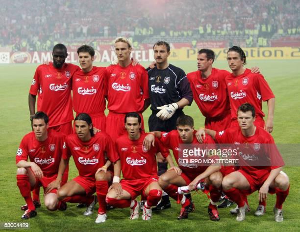 Liverpool players Stephen Finnan Milan Baros Luis Garcia Steven Gerrard John Arne Risse Djimi Traore Xabi Alonso Sami Hyypia Jerzy Dudek Jamie...