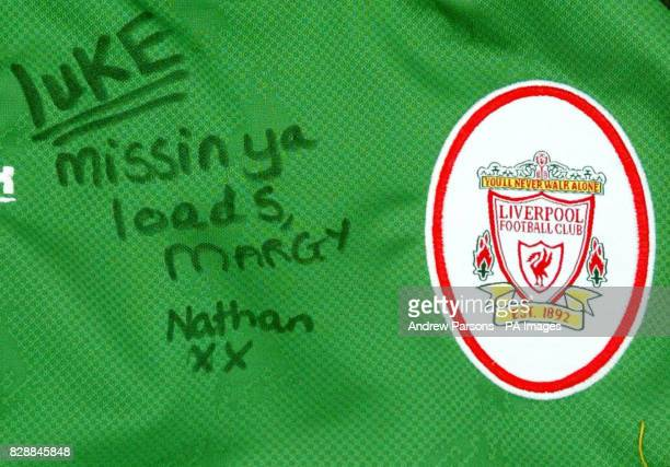 A Liverpool shirt left in tribute for teenager Luke Walmsley placed outside of the Birkbeck School North Somercotes in Linconshire Police today...