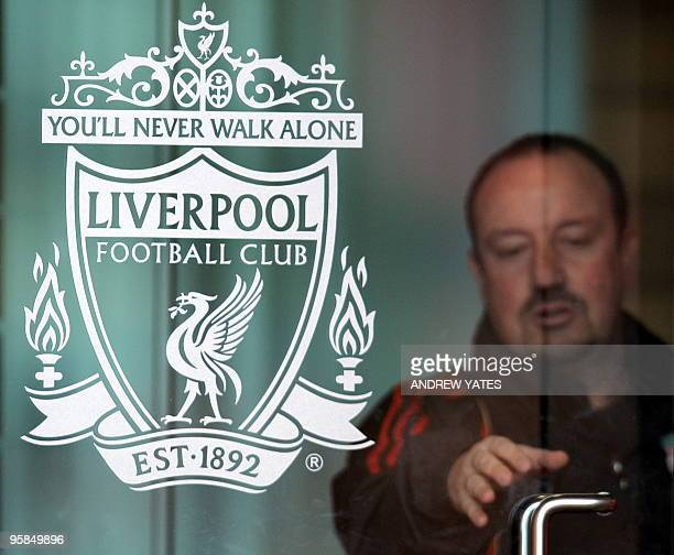 Liverpool' Spanish manager Rafael Benitez arrives for a press conference at the club's Melwood training ground in Liverpool northwest England on...