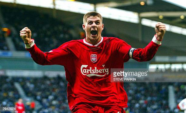 Liverpool' Steven Gerrard celebrates after scoring the Reds' second goal 07 February 2004 in Bolton during a Barclaycard Premier League match against...