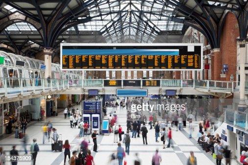 'Liverpool Street Station at Rush Hour, Motion Blur, London, UK'