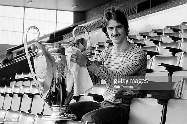 Liverpool striker Ian Rush cleaning the European Cup at Anfield August 1981