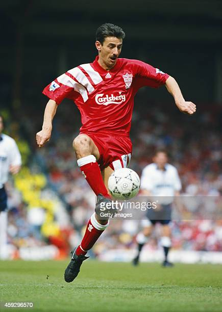 Liverpool striker Ian Rush in action during the FA Premier League match between Liverpool and Spurs at Anfield on May 8 1993 in Liverpool England