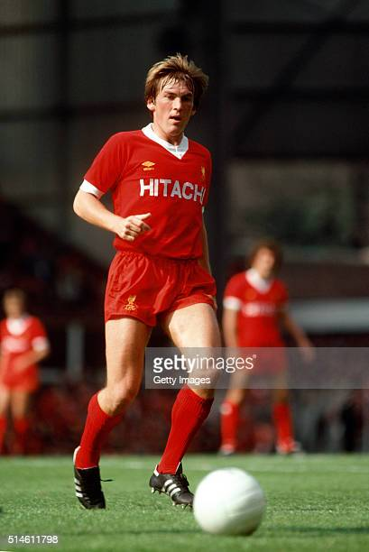 Liverpool striker Kenny Dalglish wearing a 'Hitachi' sponsor shirt in action during a First Division Match at Anfield in 1979 in Liverpool England