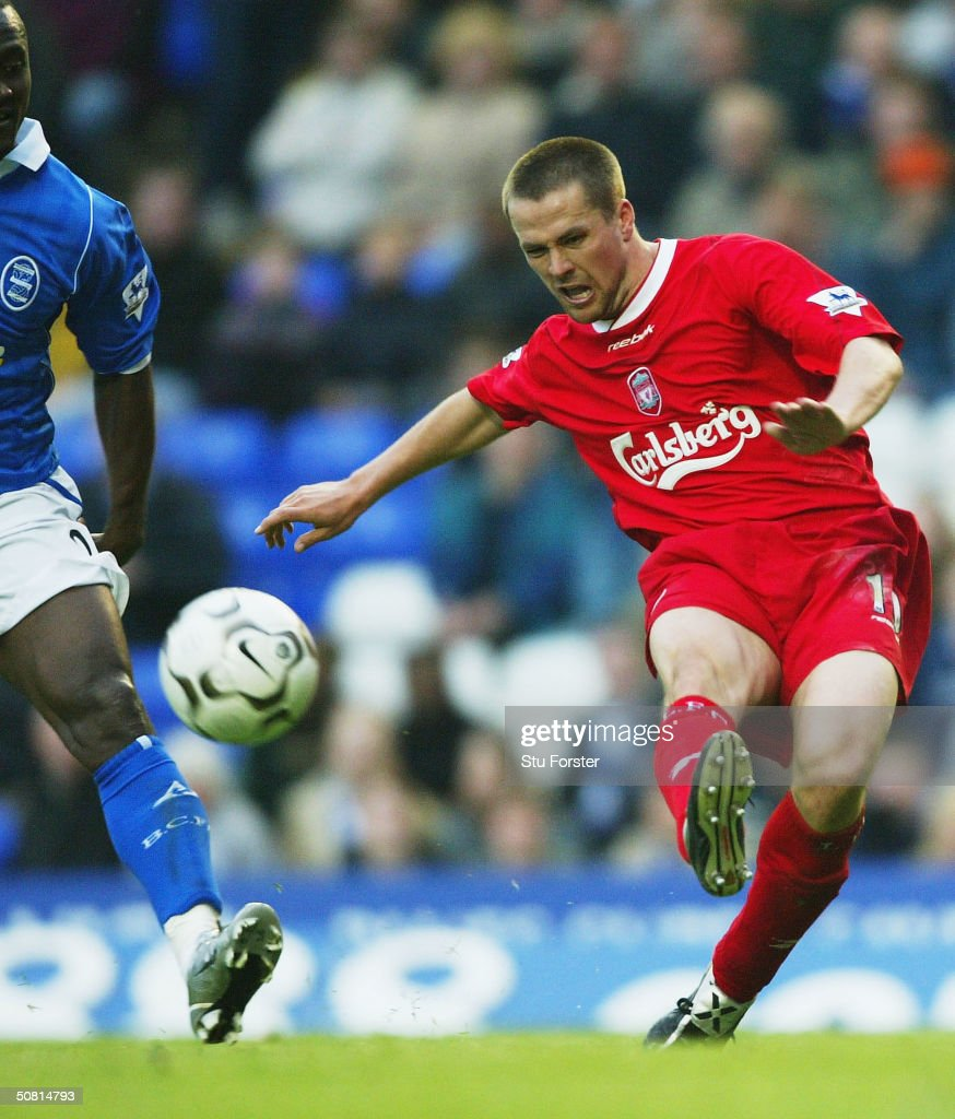 Liverpool striker Michael Owen powers in a shot during the FA Barclaycard Premiership match between Birmingham City and Liverpool at St Andrews on...