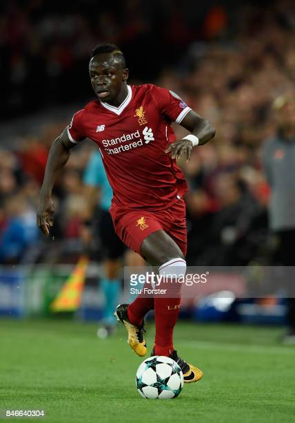 Liverpool striker Sadio Mane in action during the UEFA Champions League group E match between Liverpool FC and Sevilla FC at Anfield on September 13...