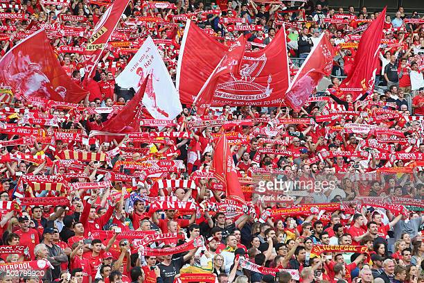 Liverpool supporters cheer during the match between Liverpool FC Legends and the Australian Legends at ANZ Stadium on January 7 2016 in Sydney...