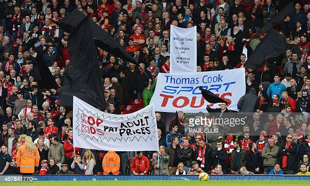 Liverpool supporters protest about ticket prices during the English Premier League football match between Liverpool and Hull City at the Anfield...
