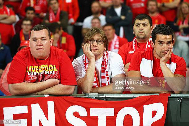 Liverpool supporters show their dejection during the UEFA Europa League Final match between Liverpool and Sevilla at St JakobPark on May 18 2016 in...